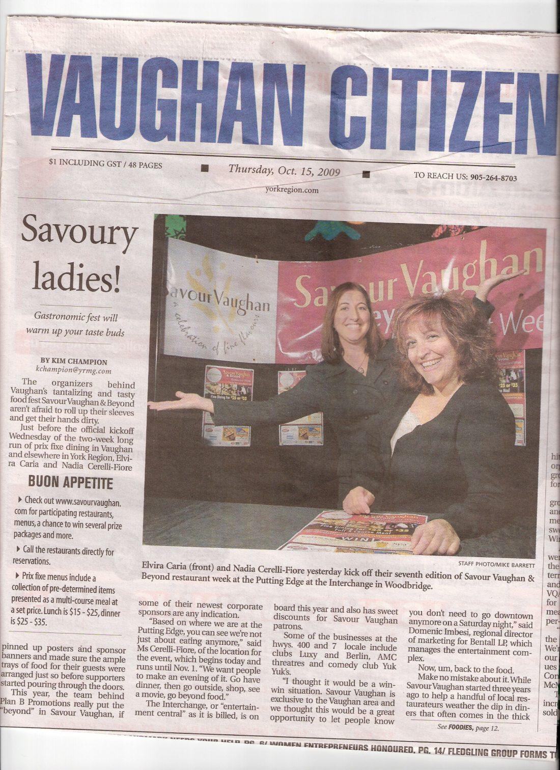 Savour Vaughan headlines the Vaughan Citizen, 2009